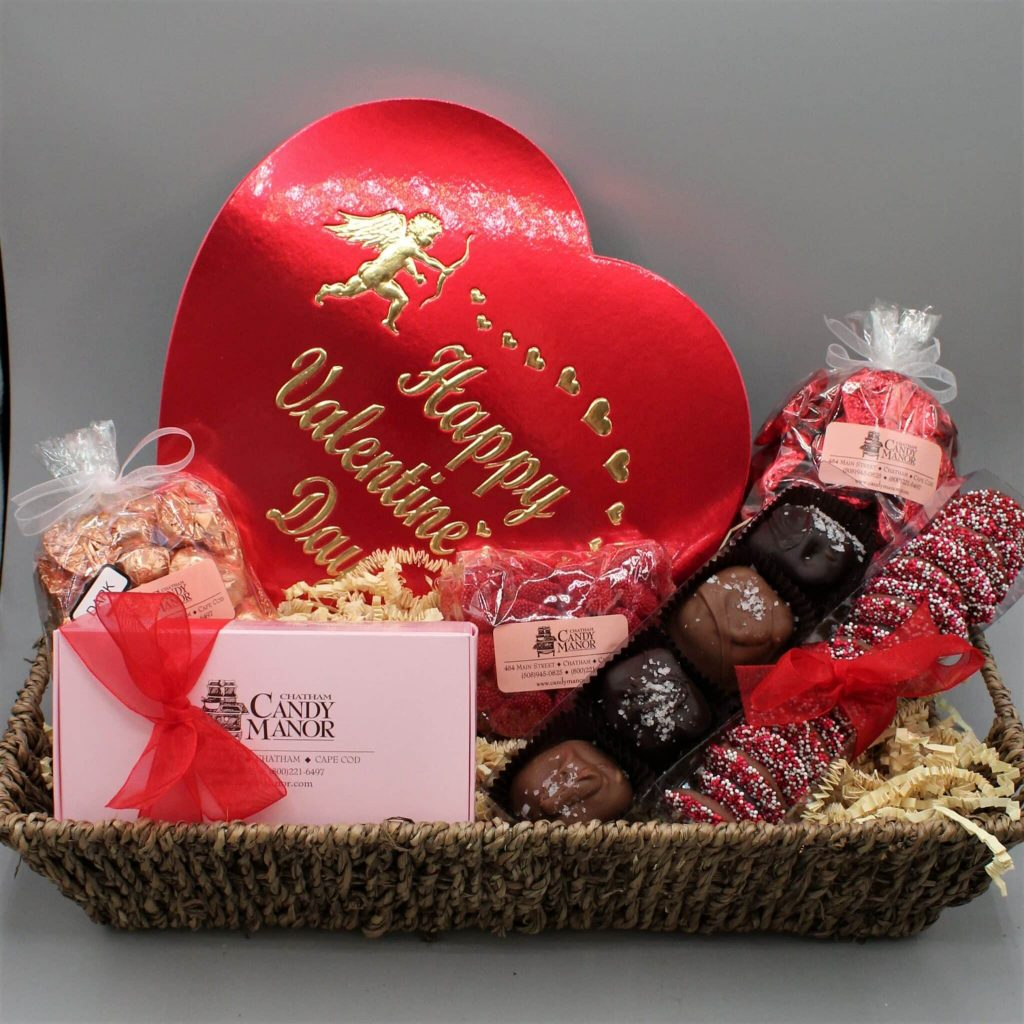 Candy Basket for Valentine's Day with red box of chocolates