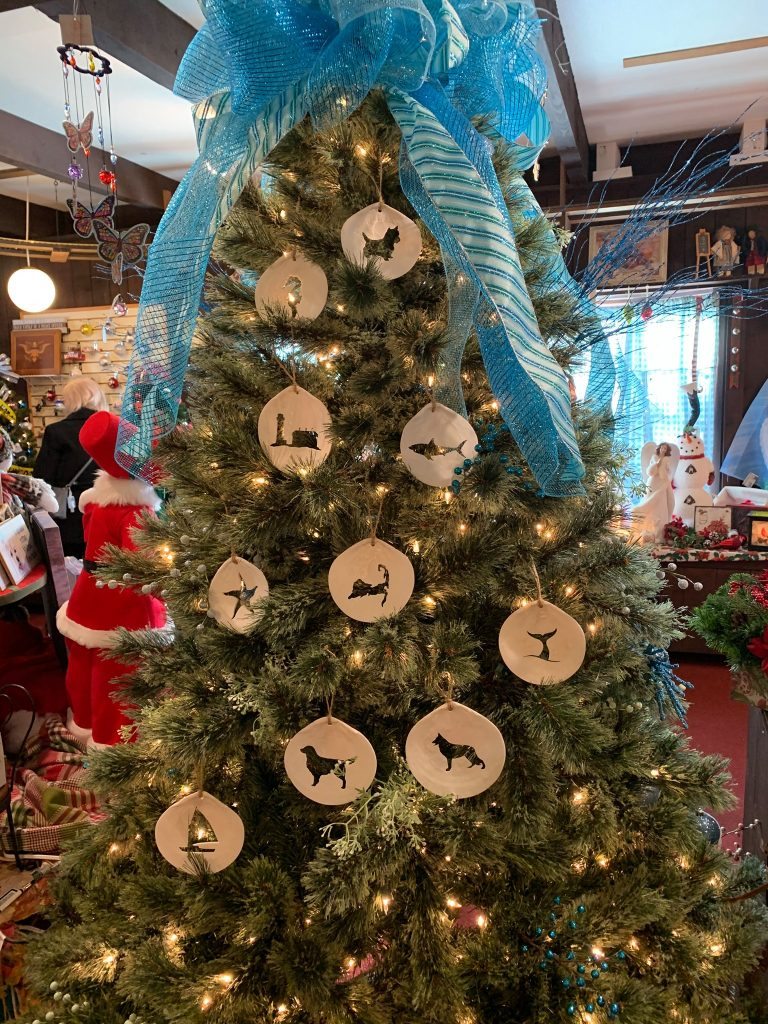 Christmas tree decorated with sea shells