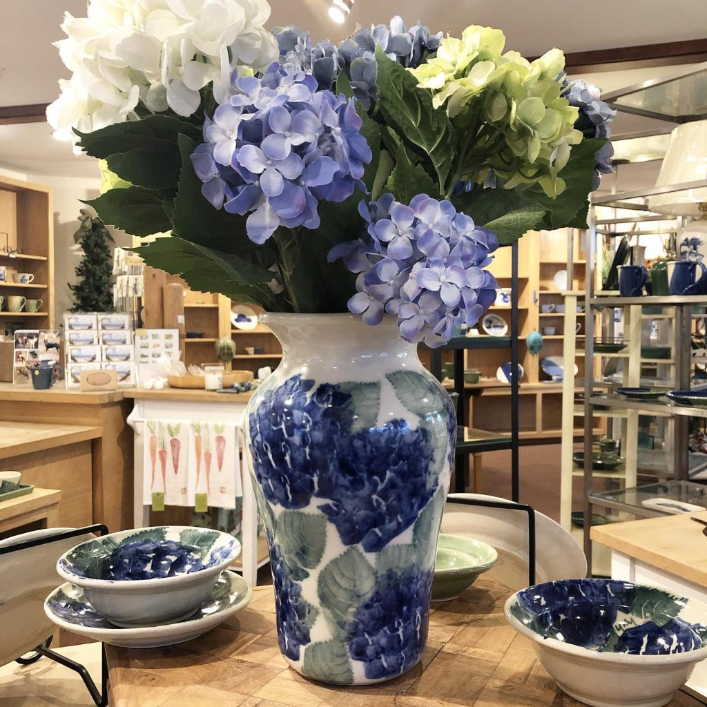 Hydrangeas in a vase on a table