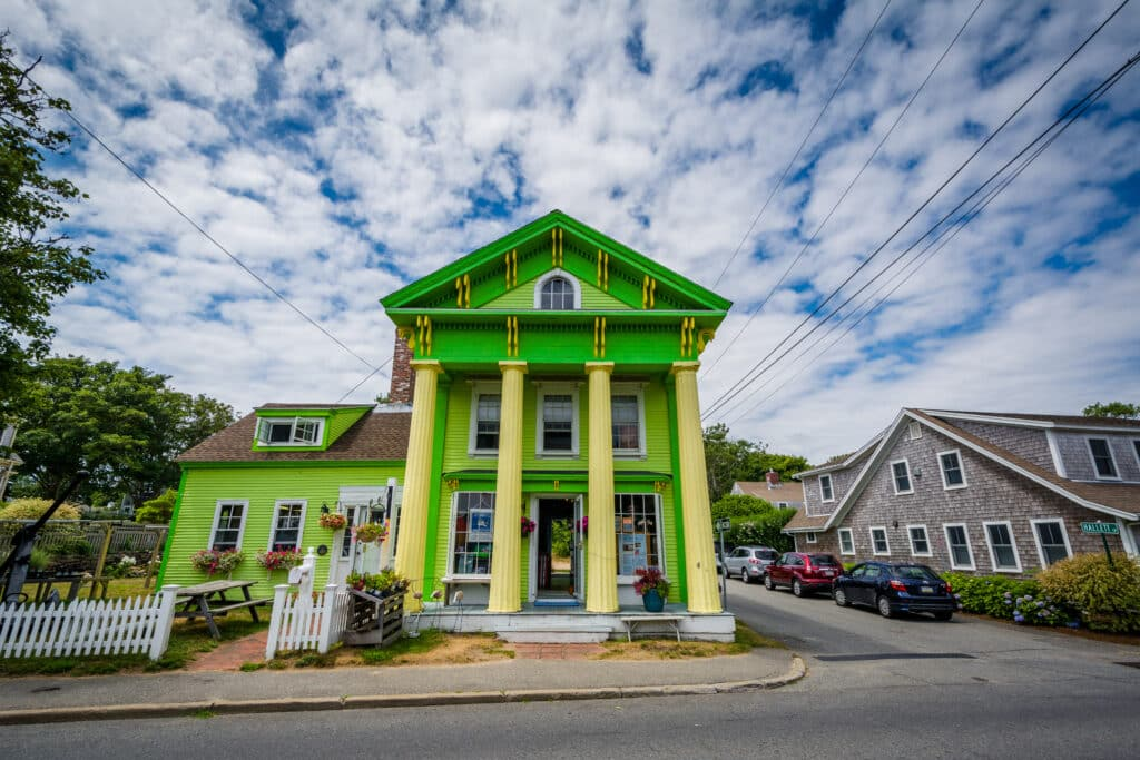Colorful exterior of a shop in Chatham, Cape Cod, Massachusetts.