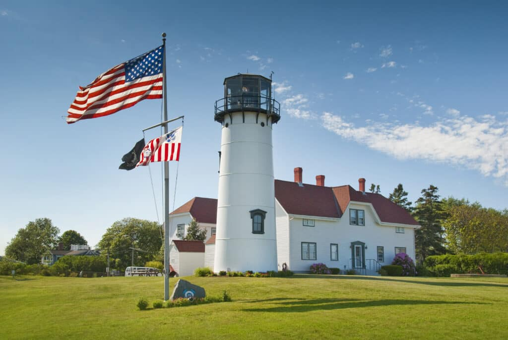 Chatham Lighthouse in the american flag