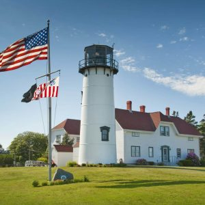 Chatham Lighthouse during the summer with american flag