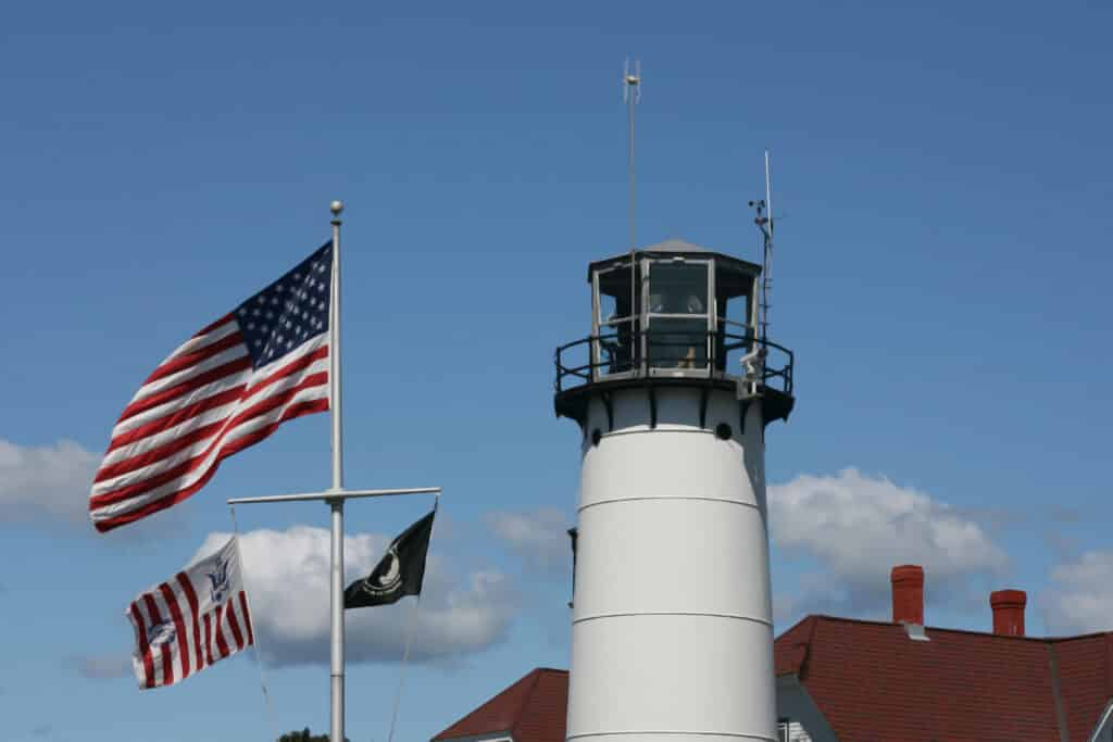 Chatham Lighthouse with american flag