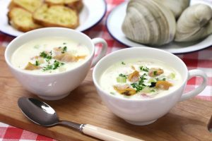 two bowls of New England Clam Chowder