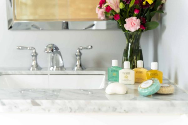 Vanity with flower vase and soaps, champoo and conditioner