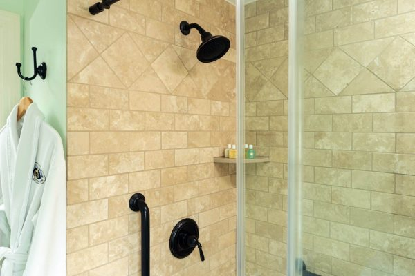 Step in glass inclosed shower showing shower head