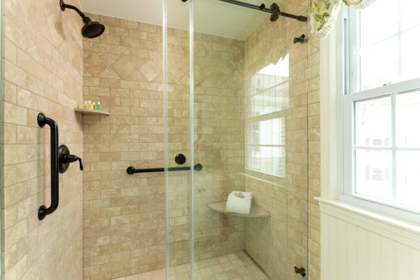 Step in glass inclosed shower