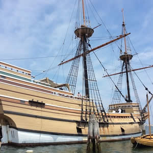 The Mayflower II - replica of the Mayflower ship - docked in the harbor