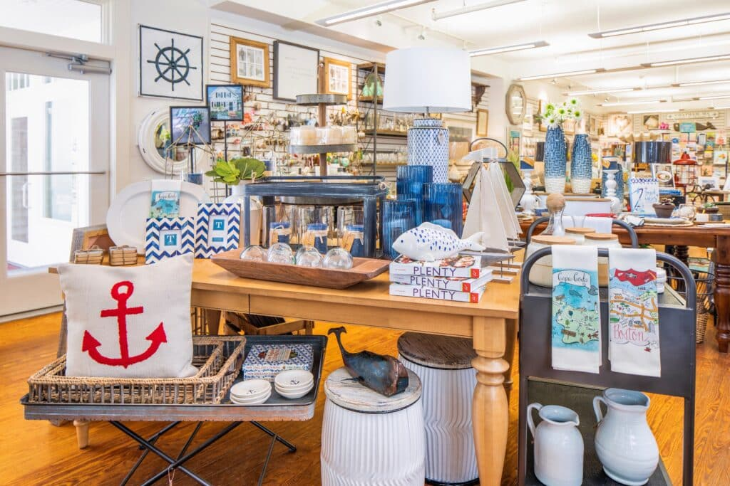 Inside a gift shop in Chatham, MA